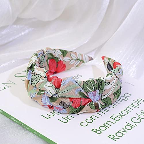 Fuduoduo Diademas para Mujer Turbantes para,Diadema Ancha Simple de Tela Salvaje-Verde,Diadema EláStica para Mujer