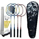 4 Joueurs Set de Badminton avec Système Combo Net Outils de Formation à 6 Postes Ensemble Complet de Tournois de Badminton Idéal pour Les Jeux de Jardin en Plein Air en Famille