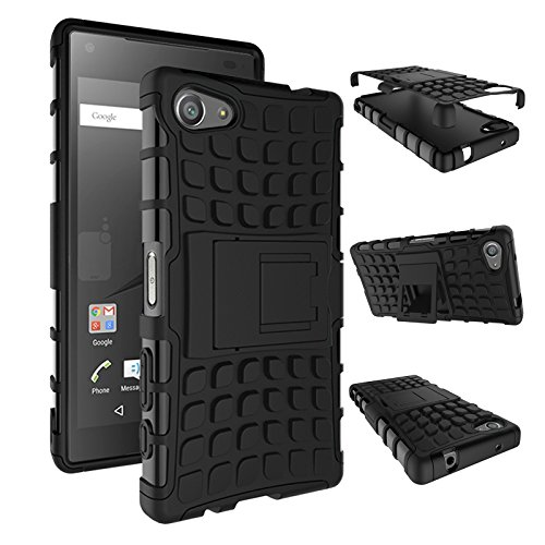 pinlu Funda para Sony Xperia Z5 Compact (4.6 Pulgada) Smartphone Doble Capa Híbrida Armadura Silicona TPU + PC Armor Heavy Duty Case Duradero Protección Neumáticos Patrón Negro