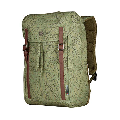 Wenger 606476 COHORT 16' Flapover Laptop Backpack, Padded laptop compartment with Tablet Pocket in a Olive Fern Print {22 Litres}