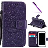 Galaxy S5 Case,LEECOCO Fancy Embossed Floral Pattern Wallet Case with Card/Cash Slots [Kickstand] Shockproof PU Leather Flip Case Cover for Samsung Galaxy S5 i9600 Mandala Purple