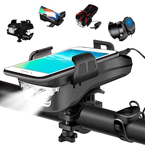 HJHY 4 in 1 Fahrradlicht, USB Wiederaufladbar Fahrradbeleuchtung Set, IP65 Wasserdicht Haben DREI Beleuchtungsmodi Können als Fahradlicht, Handyhalterung, Lautsprecher, Mobilstrom (4000 mAh)