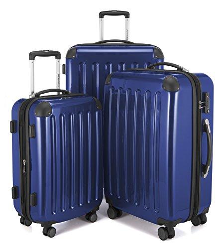 Hauptstadtkoffer - Alex - 3er-Koffer-Set Trolley-Set Rollkoffer Reisekoffer-Set Erweiterbar, TSA Zahlenschloss, 4 Rollen, (S, M & XL), Dunkelblau + Design Kofferanhänger