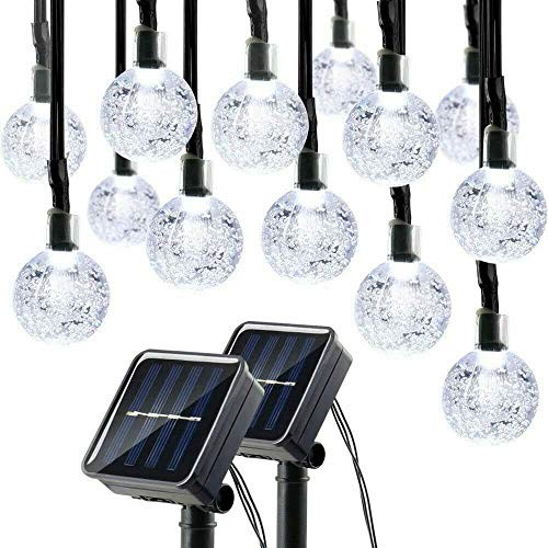 Price comparison product image Lalapao Globe String Lights 2 Pack Solar Powered Outdoor Lights 30 LED 19.7ft Crystal Ball Fairy String Light for Christmas Xmas Tree Garden Path Patio Home Lawn Holiday Wedding Decor Party (White)