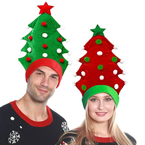 2 Pack Plush Christmas Tree Hats Santa Hats Christmas Tree Ball Cap Xmas Sweater Theme Novelty Hats Funny Party Hats for Adults Christmas Decorations (Green + Red)