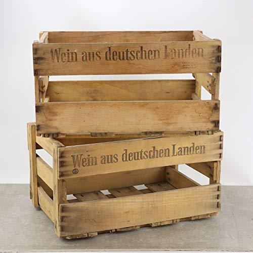 Palatina Werkstatt ® | alte stabile Weinkiste | mit Orignal Schriftzug/Aufdruck 1,2,4 oder 6 Kisten (2 Kisten)
