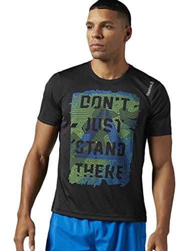 Reebok RE SS tee - Camiseta para Hombre, Color Negro, Talla S