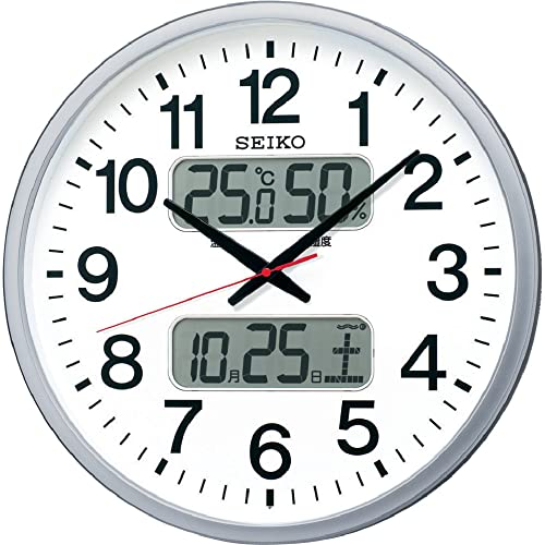 『セイコー クロック 掛け時計 電波 アナログ カレンダー 温度 湿度 表示 銀色 メタリック KX237S SEIKO』の1枚目の画像