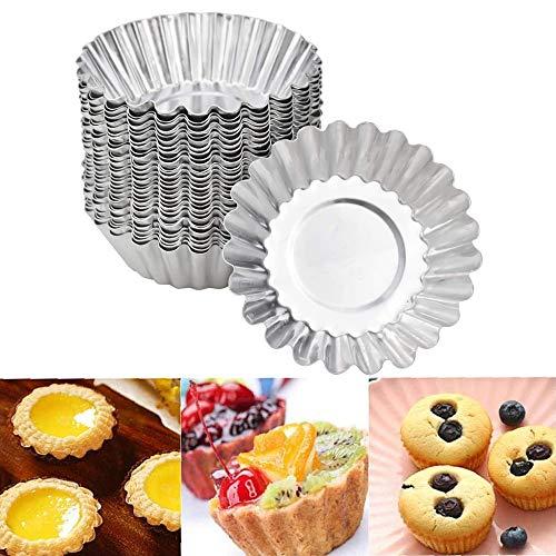 20 Stück Form Egg Tart Eierkuchenform Egg Tart Mold Cupcake Kuchen Cookie Form Ei Torte Form Aus Aluminium Mini Muffin Förmchen Edelstahl Puddingform Küche Wiederverwendbare Diy Backen Werkzeug