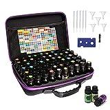 Caja de aceites esenciales, 60 frascos impermeables para aromaterapia, bolsa de almacenamiento antigolpes, estuche de baño de viaje + pegatinas incluidas (morado)