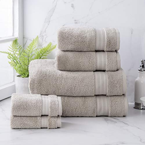 Welhome Cotton Rayon from Bamboo Bath Towel (Flax Brown) -Set of 6 -Soft & Fluffy -Highly Absorbent -Fade Resistant - Durable - Machine Washable - 2 Bath - 2 Hand - 2 Wash Towels
