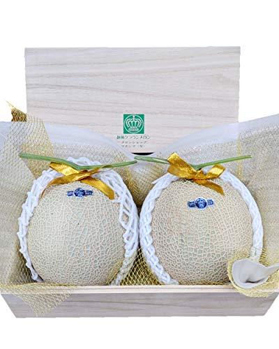 メロンショップマエシマ 静岡クラウンメロン 並(白) Mサイズ 2玉桐箱入り メッセージカード(無料)