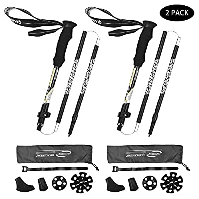 NIANYISO Trekking Poles for Hiking - 2 Pack Adjustable Walking Hiking Sticks Lightweight Collapsible Walking Trekking Trail Poles Aluminum Hiking Poles with EVA Foam Handle for Women Men