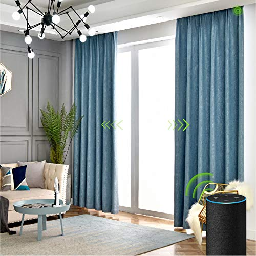 Yoolax Motorized Electric Blackout Curtain Texture Thermal Insulated Drapes Compatible with Alexa and Google Home Remote Control Smart Curtain Customized (Blue, W90''XH63''(Cover Area))