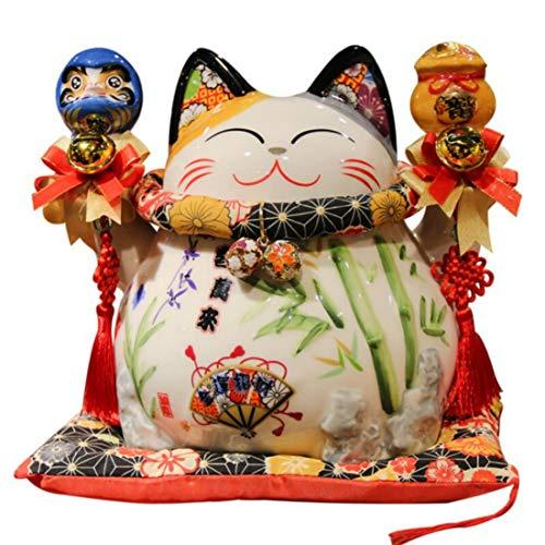 LBYLYH 8,2 Pouces en céramique Maneki Neko Tirelire Lucky Cat Daruma Tirelire pour la Richesse Feng...