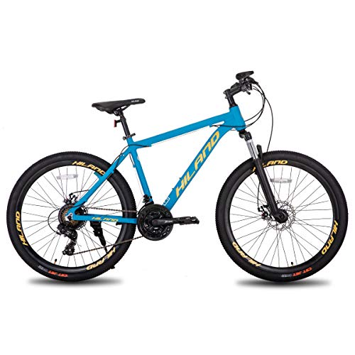 Hiland Mountain Bike 26 Inch Aluminum MTB Bicycle for Men with 18 Inch Frame Kickstand Disc Brake Suspension Fork CST Urban Commuter City Bicycle Blue Yellow