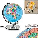 Globe terrestre lumineux en métal, chrome et plastique
