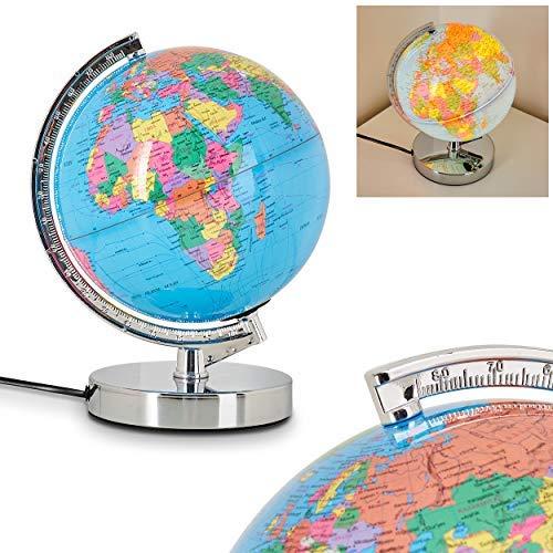 LED Tischlampe Globus, dimmbare Tischleuchte als Weltkugel, Ø 20 cm, E14 max. 30 Watt, Leuchtglobus m. 3-Stufen Touchdimmer, Nachtlicht ideal für Kinder- u. Jugendzimmer, geeignet für LED Leuchtmittel