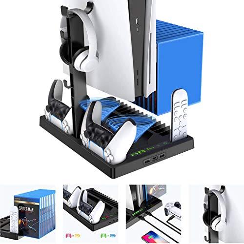 Fbewan Soporte Vertical con Ventilador de enfriamiento para PS5 Playstation 5 Digital Edition/Ultra HD Controller, Estación de Carga con 15 Ranuras de Juego retráctiles