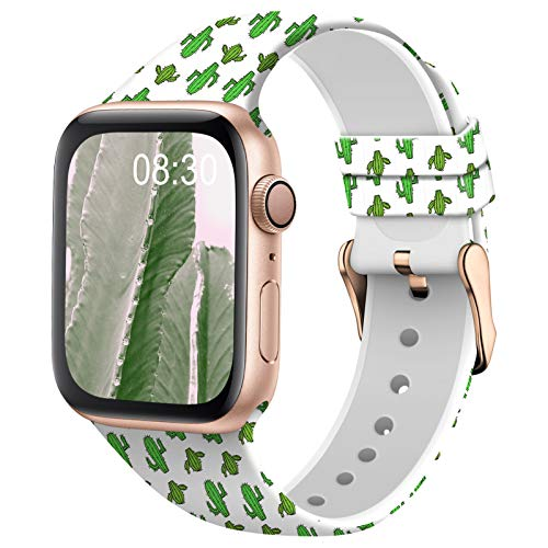 TSAAGAN Silicone Pattern Printed Band Compatible for Apple Watch Band 38mm 42mm 40mm 44mm, Floral Soft Sport Replacement Strap Wristband for iWatch Series 6/5/4/3/2/1 (Cactus, 38mm/40mm)