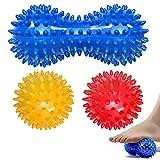 3er Set Igelball Set, Fußmassage Balls, Igel Ball Massagebälle mit Noppen perfekt für den Stress Reflexologie und Triggerpunkt-Massagen, für Rücken, Beine, Füße & Hände Muskelmassage (rot, gelb, blau)