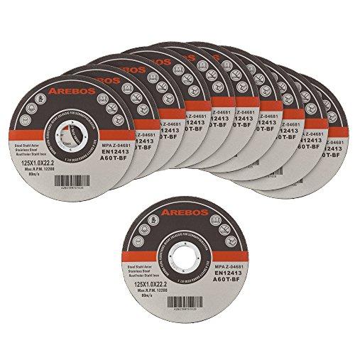 Arebos Trennscheiben für Metall INOX (125 x 1 mm, 200 Stück) / EN 12413 / MPA Z-14000/16