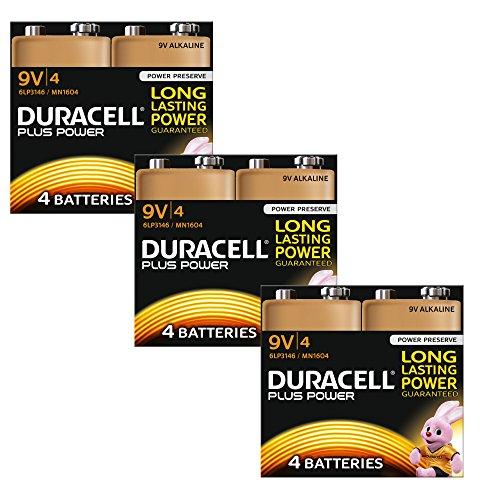 Duracell Pile Alcaline 9 V Pack de 12 Plus Power