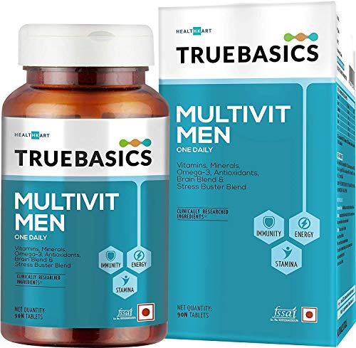TrueBasics Multivit Men, Multivitamin For Men, With Zinc, Vitamin C, Vitamin D3 and Multiminerals, Antioxidant-Rich, Stress Buster Blend, Clinically Researched Ingredients, 90 Multivitamin Tablets