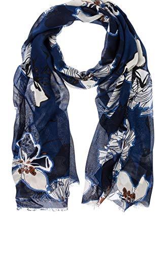 Olsen Schal mit Blumenmuster, Stahl, Blau Gr. Einheitsgröße, blue steel