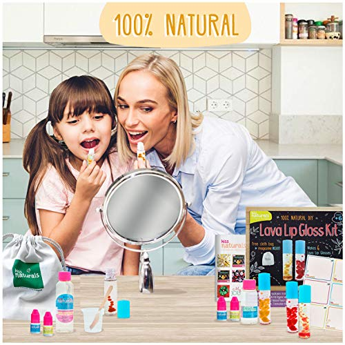 Kiss Naturals Kids Lip Gloss Making Kit – Crafts for Girls Age 10-12 – DIY Lava Lip Gloss Kit for Girls