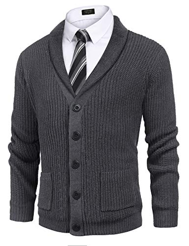 COOFANDY Men's Shawl Collar Cardigan Sweater Slim Fit Cable Knit Button up Cotton Sweater with Pockets Dark Grey
