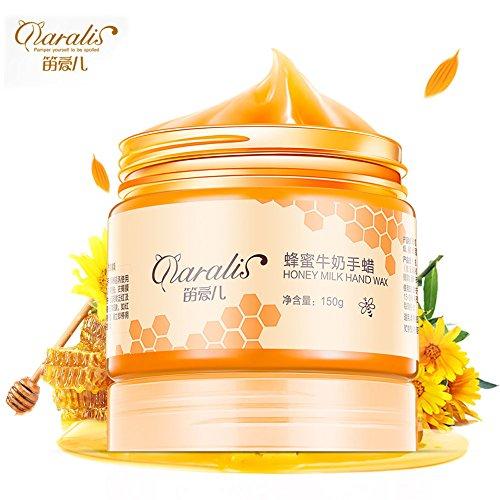 Crème Nourrissante pour les Mains 150g Miel et Lait Crème Nourrissante pour les Mains Masque de Cire Hydratant Exfoliant Callosols Soins des Mains