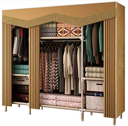 FHW Modern double cloth wardrobe - Steel frame is reinforced, Cloth hanger/Easy assembly of storage cabinets, Moisture proof and insect proof Large capacity,50.4inx 67.7inx 17.7in Combination wardrobe