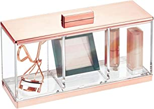 mDesign Plastic Makeup Organizer Storage Canister Box with 3 Sections and Lid for Bathroom Vanity Countertops - Holder for...