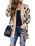 MEROKEETY Women's Open Front Leopard Knit Cardigan Sweaters Pockets Long Sleeve Outwear, A-Beige, M from