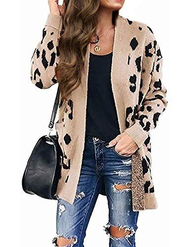 MEROKEETY Women's Open Front Leopard Knit Cardigan Sweaters Pockets Long Sleeve Outwear, A Beige, M
