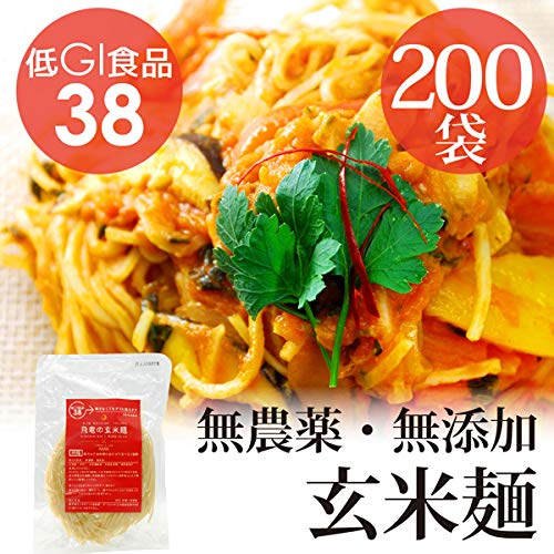 HIRYUの玄米麺 100g×200pc パスタ 【GI値38-低GI食品】自然栽培(無農薬・無肥料) (平麺)