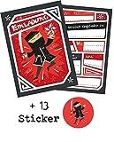 12 Einladungskarten 'Ninja' zum Kindergeburtstag + 13 Sticker GRATIS - für Junge und Mädchen /...