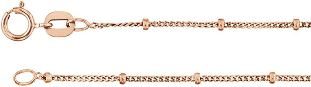 Jewels By Lux 14K Rose Gold 1mm Solid Beaded Curb Chain