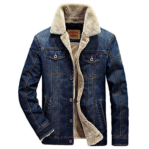LSSM Chaqueta Vaquera De Invierno para Hombre, Chaqueta Informal De AlgodóN Y Chaqueta De Terciopelo Forro Polar Hombre Polar con Cremallera Completa - Fleece-Outerwear-Jackets