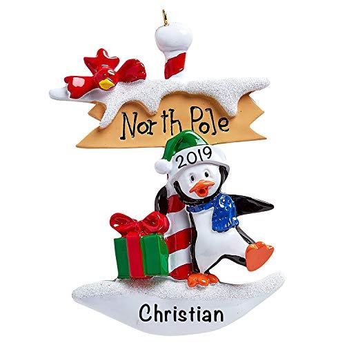 Adorno personalizado de pingüino del Polo Norte, adorno único para árbol de Navidad, recuerdo especial, decoración de animales personalizada, personalización incluida