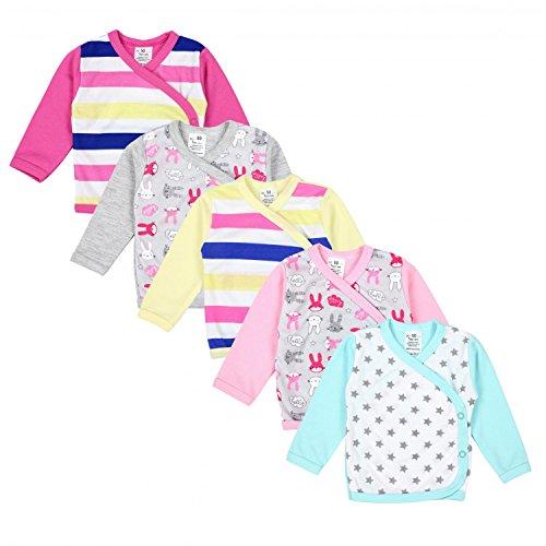 TupTam TupTam Baby Mädchen Langarm Wickelshirt Baumwolle 5er Set, Farbe: Mehrfarbig 3, Größe: 50