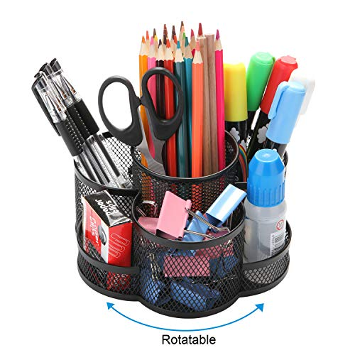 Rotating Pencil Holder, AGPTEK 7 Compartment Desktop Office Supplies Storage Organizer Caddy Rack (Black Metal)