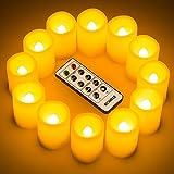 Set di 12 pezzi - Le candele senza fiamma è inodore con il bordo di design ondulato, la candela intera è avoria e la sua misure è 3.8 cm x 4.8 cm. Lampeggia come la vera fiamma ma la lampadina LED non si riscalda ed è valutata per durare per 10.000 o...