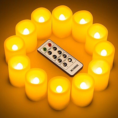 Aueide 12 X Candele A LED Con Telecomando Timer, Candele Senza Fiamma Dimmerabile Funzione Tremolante A Batteria Fiamma LED Lampeggiante Decorazione Casa Natale Party Matrimonio