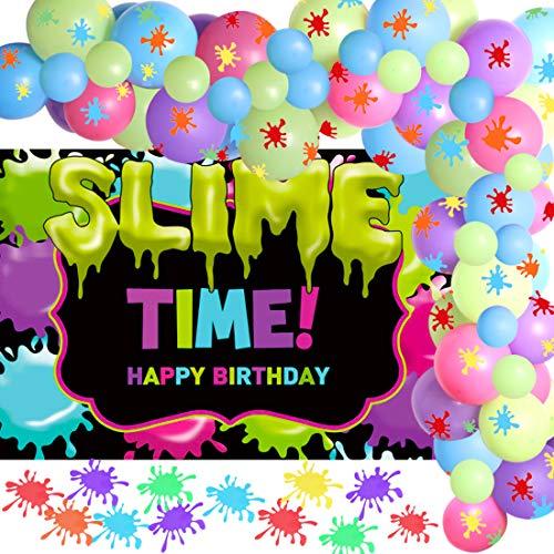 Decoraciones para fiestas de limo Guirnalda de globos de limo para pintura de cumpleaños Suministros de fiesta temática de arte Paquete de 70