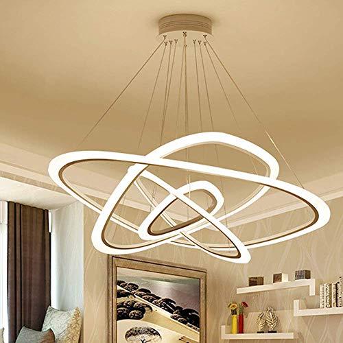 140 W LED dimbare hanglamp modern design 4 ringen kroonluchter design wit acryl hanger metaal licht in hoogte verstelbaar plafondlamp eetkamer kantoor eettafel trap