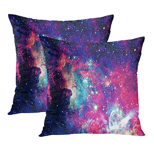 Y·JIANG Supernova Abstract Cushion Cover, Nebula and Stars in Deep Space Soft Velvet Decorative Square Cushion Case Couch Cover Pillowcase for Sofa Chair Bedroom, 20 X 20 Inch, Set of 2