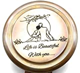 Life is beautiful with you Engraved compass, E E cumings poem engraved working compass, Anniversary, birthday, love, Sorry, Valentines day, Keepsakes, old memories, Love momentos, Unusual gift