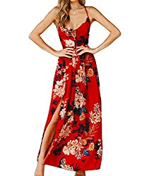 60%OFF Sherrylily Women Floral Printed Lace Up Backless Slit Side Maxi Dress